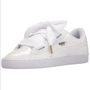 PUMA white sneakers with large laces, new, size 6